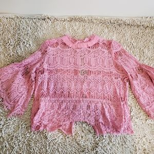 Long bell sleeve lace top